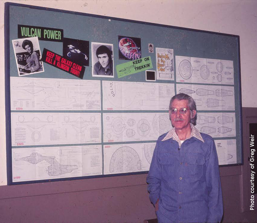 Franz Joseph at Miramar NAS, in July 1975, with his STAR TREK Blueprints on the wall behind him. Photo courtesy of Greg Weir